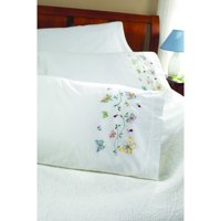 """Bucilla   Stamped Cross Stitch and Embroidery Pillowcase Pair Kit by Plaid, Butterflies   in Flight, Set of 2, 30"""" x 20"""" each"""