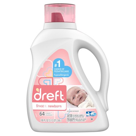 Dreft Stage 1: Newborn Baby Liquid Laundry Detergent, 64 Loads 100 fl oz