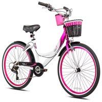 "Susan G Komen 24"" Girls', Multi-Speed Cruiser Bike, Pink/White/Black, For Ages 12 and Up"