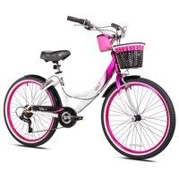 """Susan G Komen 24"""" Girls', Multi-Speed Cruiser Bike, Pink/White/Black, For Ages 12-14"""