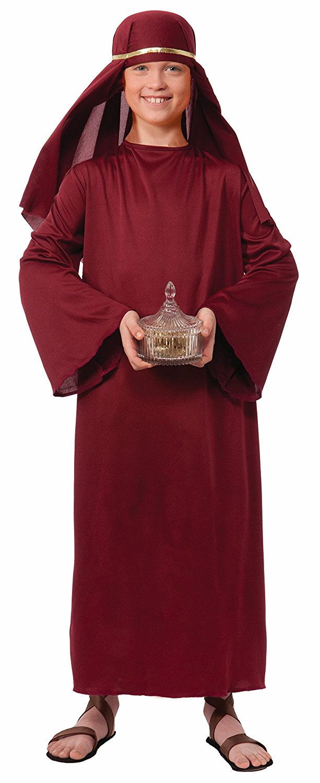 Biblical Times Shepherd Burgundy Costume Robe, Child Small, Biblical Times  Shepherd Child Costume Robe
