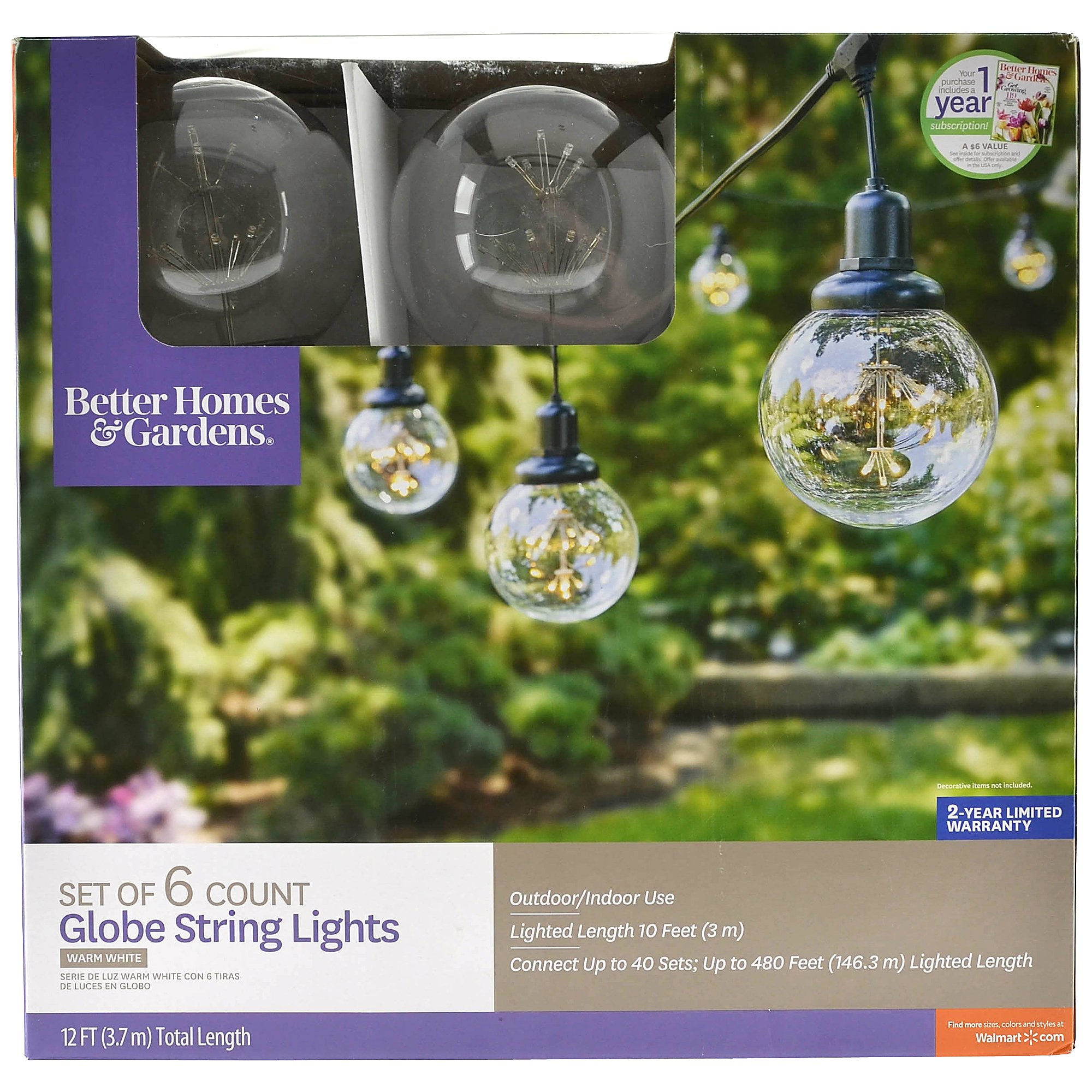 Better Homes & Gardens 22ft Outdoor LED Cafe String Lights