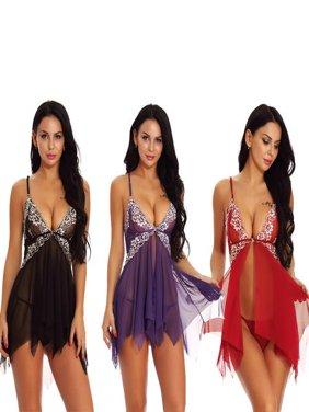 Women Plus Size Sexy Lace Deep V Lingerie Nightdress Set, Lingerie +Thongs