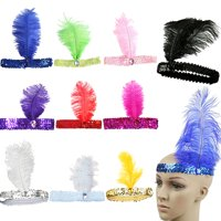 Girl12Queen Women's Shiny Sequins Ostrich Feather Headband Show Party Headpiece Costume