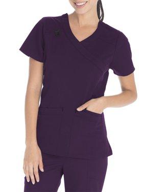 Scrubstar Women's Premium Collection Stretch Mock Wrap Scrub Top