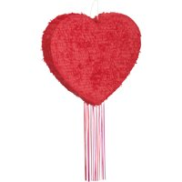 Valentine's Day Red Heart Pinata, Pull String, 18in