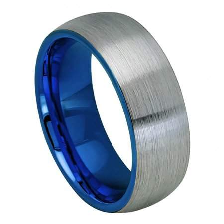 8mm Tungsten Domed Blue IP Plated Inside & Gun Metal Brushed Center Wedding Band Ring For Men Or Ladies