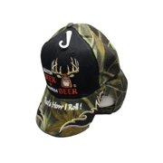 9695b99d392 Shootin Deer Drinkin Beer Camouflage Black Front Embroidered Cap Hat 910