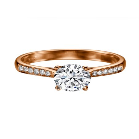 White Sapphire Ring 0.3 ct with Diamonds Rose Gold 14K Cathedral Channel set Ring ()