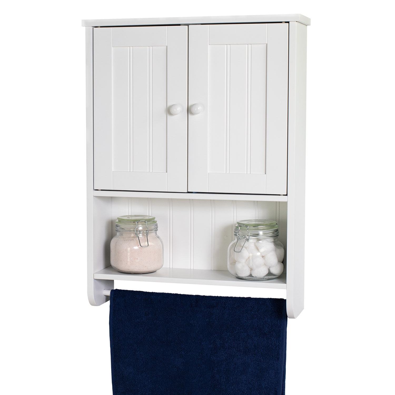 Wall Mount White Bathroom Medicine Cabinet Storage Organizer With Towel Bar