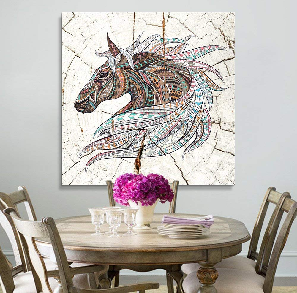 Wall26   Square Canvas Wall Art   Colorful Tribal Horse Wood Effect Canvas    Giclee Print