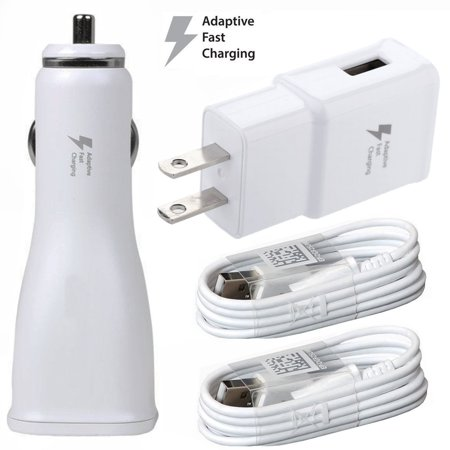 Original Fast Charger Combo For LG Stylo 4 Cell Phones - [1 x USB Wall + 1 x USB Car Charger + 2 x Type-C Cable] - 50% Faster Charging - White