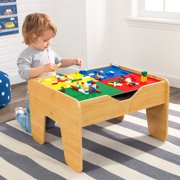 KidKraft 2-in-1 Reversible Top Activity Table with 200 Building Bricks and 30-Piece Wooden Train Set - Natural