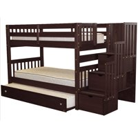 Bedz King Stairway Bunk Beds Twin over Twin with 3 Drawers in the Steps and a Twin Trundle, Cappuccino