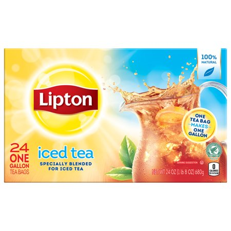 Lipton Unsweetened Gallon-Sized Black Iced Tea Bags, 24 (Energizing Tea)