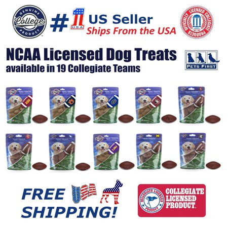 Pets First Collegiate Michigan Wolverines Dog Treats Natural & Delicious Dog Cookies Licensed with engraved Football (Longhorns Natural)