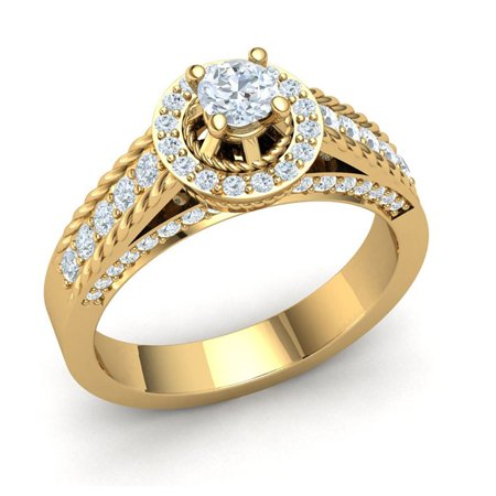 Natural 1.5carat Round Cut Diamond Prong Rope Cathedral Halo Bridal Ring Anniversary Wedding Band Solid 14K Gold GH (Cathedral Band)