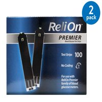 (2 Pack) ReliOn Premier Blood Glucose Test Strips, 100 Ct