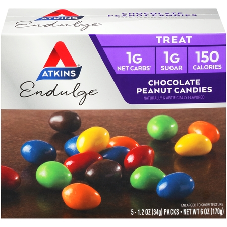 Atkins Endulge Chocolate Peanut Candies, 1.2oz, 5-pack (Treat)](Halloween Treats Without Peanuts)