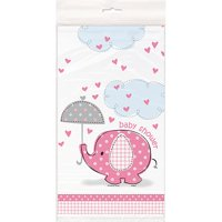 (3 Pack) Plastic Elephant Baby Shower Table Cover, 84 x 54 in, Pink, 1ct