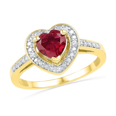 Size - 7 - Solid 10k Yellow Gold Heart Round Red Simulated Ruby And White Diamond Engagement Ring OR Fashion Band Prong Set Solitaire Shaped Halo Ring (.03