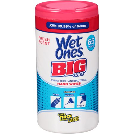 (2 pack) Wet Ones Big Ones Antibacterial Hand Wipes Canister, 65 (Antibacterial Wipes)