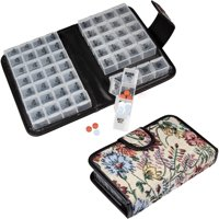 Floral Pill Case Box, Pill Organizer 14 day Pill Holder Travel Pill Container and Medication Organizer, Travel Case - 4 Marked Compartments for each Day of the Week - Morn, Noon, Eve, Bed