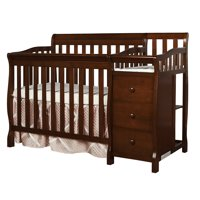 Dream On Me Jayden 4-in-1 Portable Convertible Mini Crib With Changer Espresso