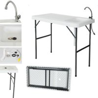 Ktaxon Folding Portable Outdoor Fish Table Fillet Cleaning Cutting with Sink Faucet, White, Plastic