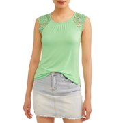 667dc6145c Juniors' Crochet Lace Cap Sleeve Blouse