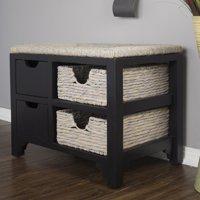 Heather Ann Creations Vale Seagrass Top 2 Drawer 2 Basket Storage Bench