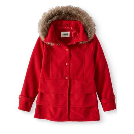 Military Ruffle Jacket (Sebby Ruffled Hem Wool Blend Coat with Fur Trim Detachable Hood (Little Girls & Big Girls) )