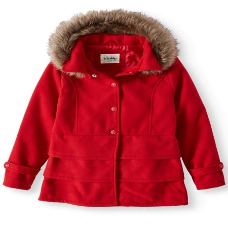 Sebby Ruffled Hem Wool Blend Coat with Fur Trim Detachable Hood (Little Girls & Big Girls)