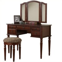 Bobkona St. Croix 3 Fold Mirror Vanity Table with Stool Set in Cherry