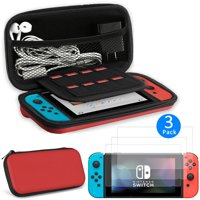 EEEKit 2in1 Starter Kit for Nintendo Switch, Carrying Travel Hard Shell Case w/ Game Cartridge Holder + 3 Pcs Clear HD Screen Protector