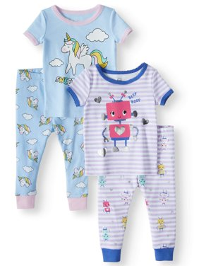 Cotton Tight Fit Pajamas, 4pc Set (Baby Girls)