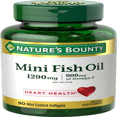 Nature's Bounty Mini Fish Oil Omega-3 Softgels, 1290 Mg, 90 Ct