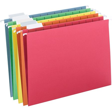 Essentials Hanging File Folders (Smead Hanging File Folder, 1/5 Tab, Assorted Colors, Letter Size, 25/Box)
