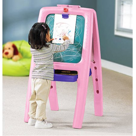Step2 Easel For Two Pink With 77 Piece Art Kit Walmart Com
