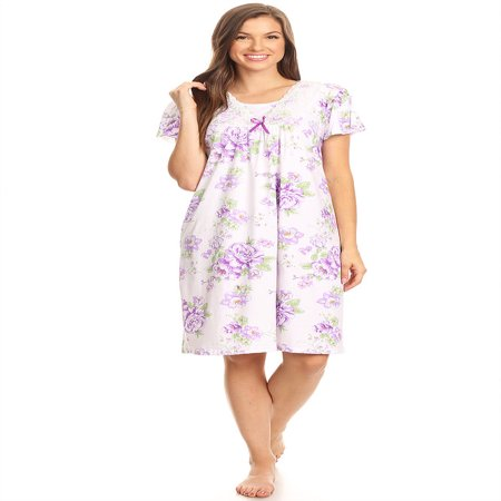 1812 Womens Nightgown Sleepwear Pajamas - Woman Sleeveless Sleep Dress Nightshirt Purple L (Personalized Nightgowns)