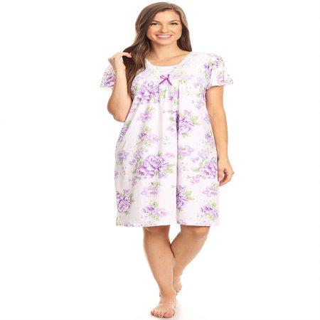 1812 Womens Nightgown Sleepwear Pajamas - Woman Sleeveless Sleep Dress Nightshirt Purple (Nightgown)