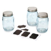 Blue Mason Jars with Chalkboard Lables: 16 oz, 3 pack