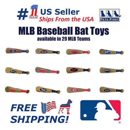 Pets First MLB San Diego Padres BAT TOY for DOGS & CATS. 29 MLB Teams available. - Plush PET TOY with inner SQUEAKER. Officially Licensed Baseball - Pet Bat