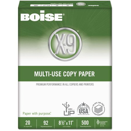 "Boise X-9 Copy Paper, 92 Brightness, 8.5"" x 11"", White, 500 Sheets"