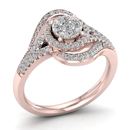 Princess Cut Cluster Ring (1/2ct TDW Princess cut Diamond 10K Rose Gold Cluster Halo Bypass Engagement)
