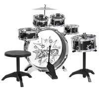 Best Choice Products 11-Piece Kids Starter Drum Set w/ Bass Drum, Tom Drums, Snare, Cymbal, Stool, Drumsticks - Black
