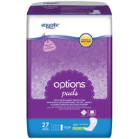 Equate Options Incontinence Pads for Women, Ultimate, Long, 27 Ct