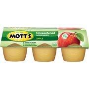 (3 Pack) Mott's Unsweetened Applesauce Cups, Apple, 3.9 Oz, 6 Count