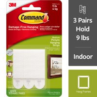 Command Picture Hanging Strips, White, Medium, 3 Sets of Strips/Pack