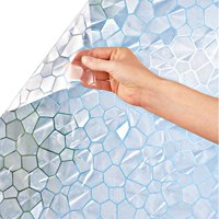 Cut to Fit Window Privacy Film with Printed Artwork Patterns - Decorative Film for Natural Light Easily Removable and Reusable and No Adhesive Needed, Frosted Mosaic